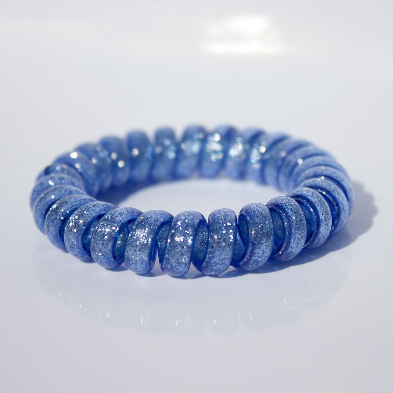 Modrá trblietavá gumička do vlasov Hairfix - Glitter Blue