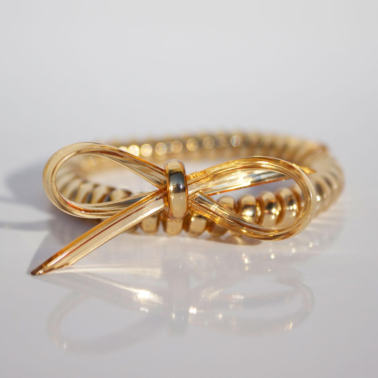 Zlatá gumička do vlasov s mašličkou Hairfix - Metallic Bow Gold