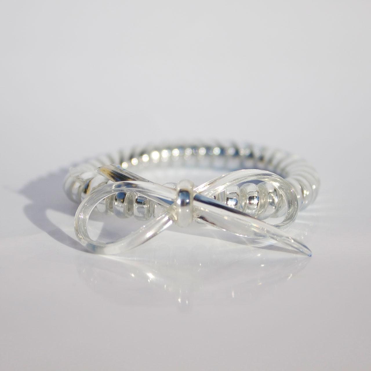 Strieborná gumička do vlasov s mašličkou Hairfix - Metallic Bow Silver