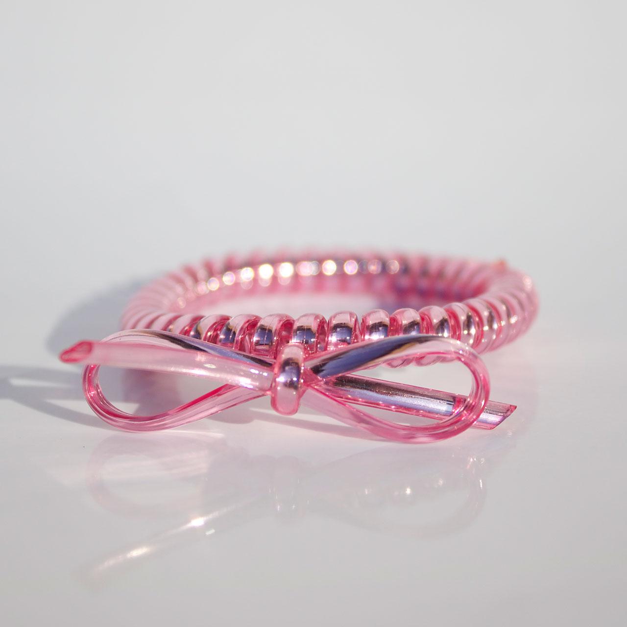 Ružová gumička do vlasov s mašličkou Hairfix - Metallic Bow Pink