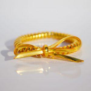Žltozlatá gumička do vlasov s mašličkou Hairfix - Metallic Bow Yellow Gold
