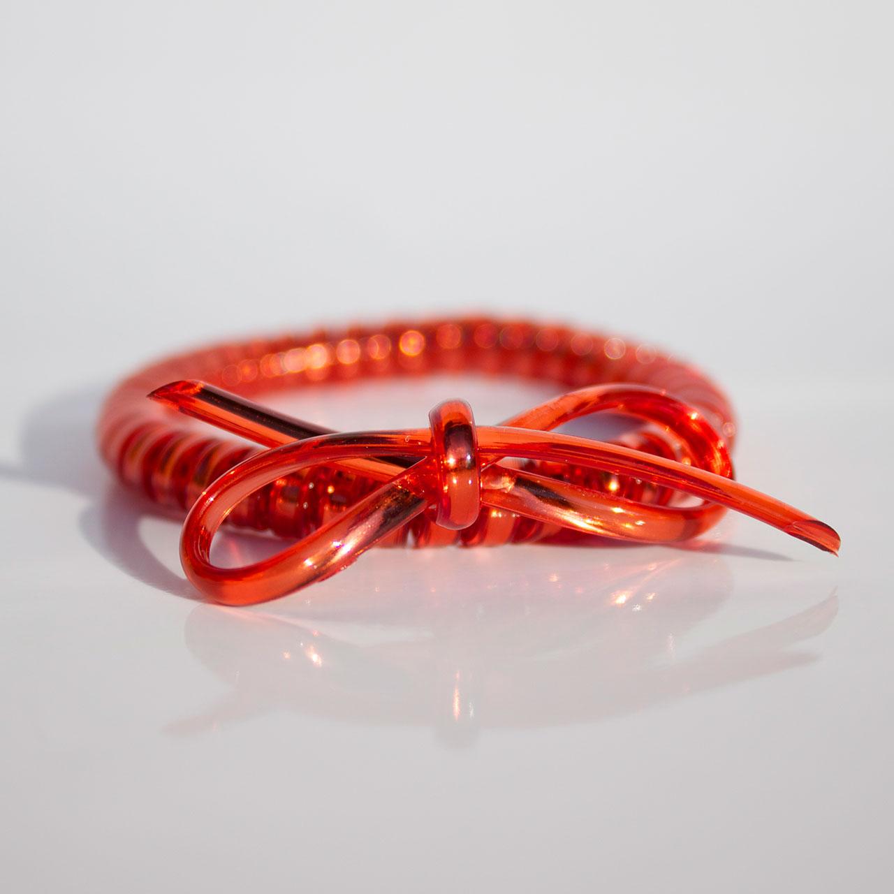 Červená gumička do vlasov s mašličkou Hairfix - Metallic Bow Red