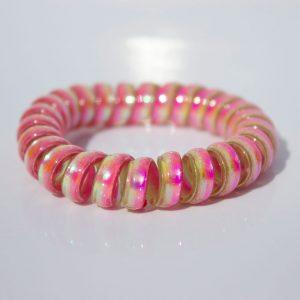 Ružovo-zelená gumička do vlasov Hairfix - Metallic Rainbow Watermelon