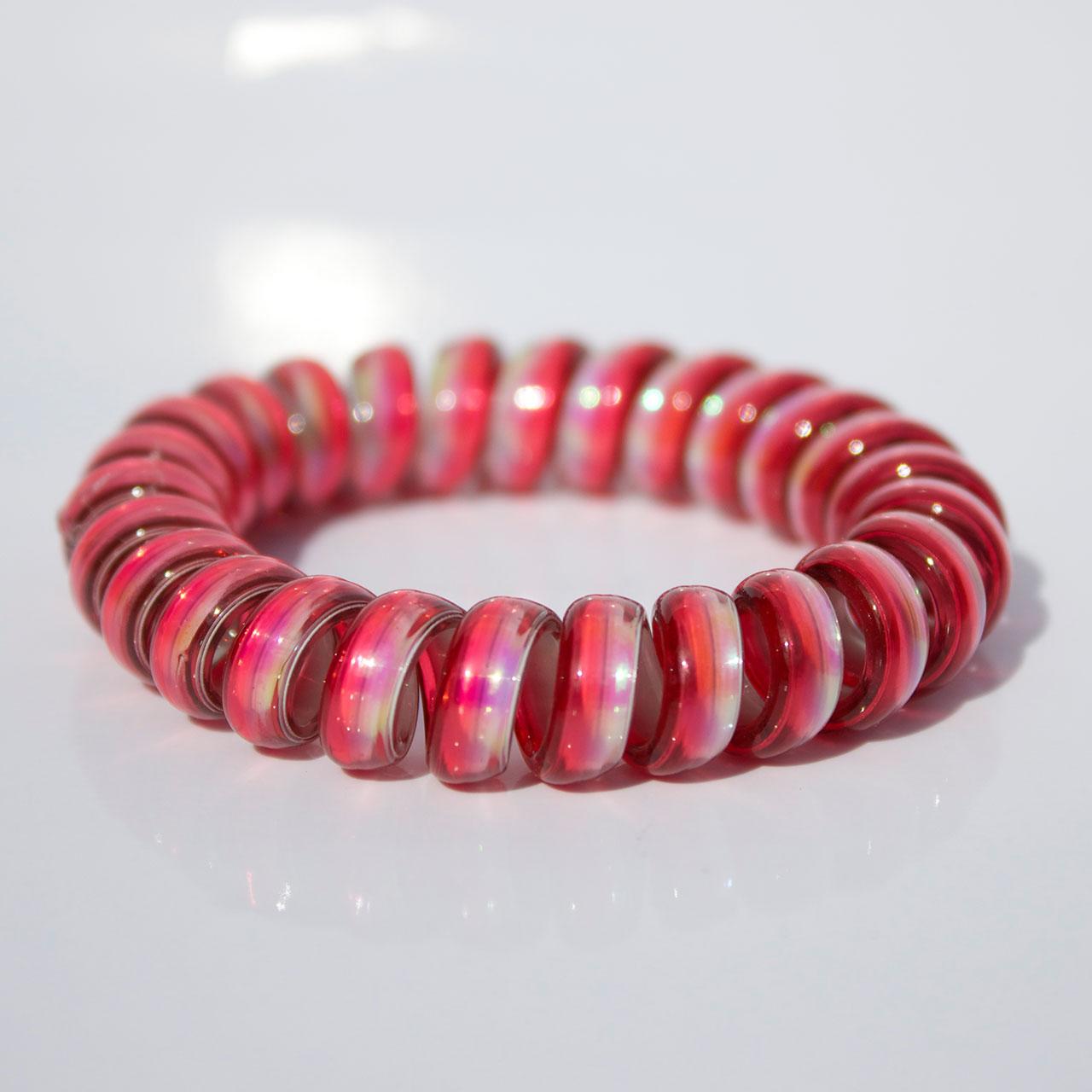 Ružovo-červená gumička do vlasov Hairfix - Metallic Rainbow Raspberry