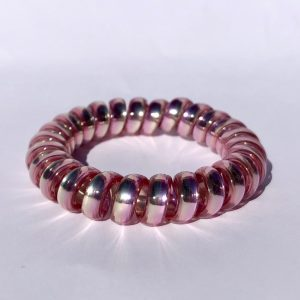 Ružovo-strieborná gumička do vlasov Hairfix - Metallic Rainbow Frosty Pink