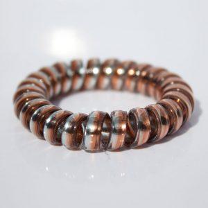 Hnedo-strieborná gumička do vlasov Hairfix - Metallic Rainbow Brownie