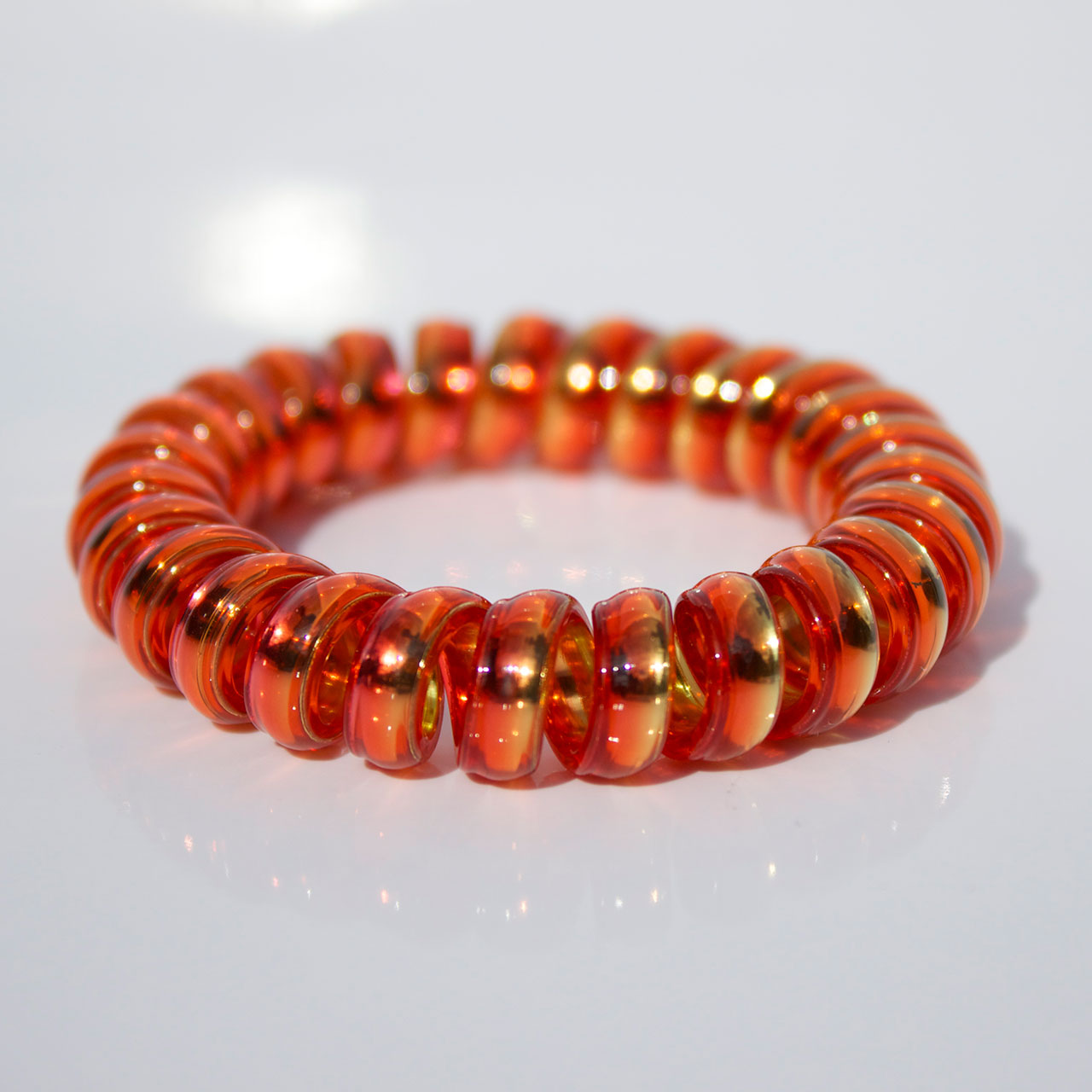 Červeno-žltá gumička do vlasov Hairfix - Metallic Rainbow Fire