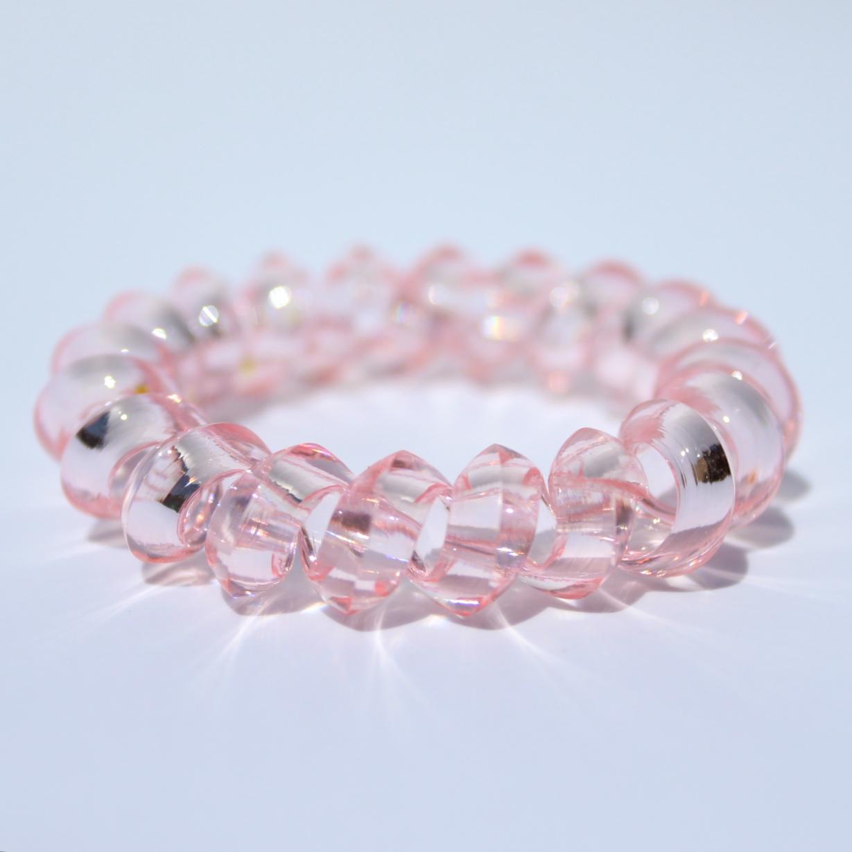 Bledoružová gumička do vlasov Hairfix - Crystal Špicaté Light Pink 1