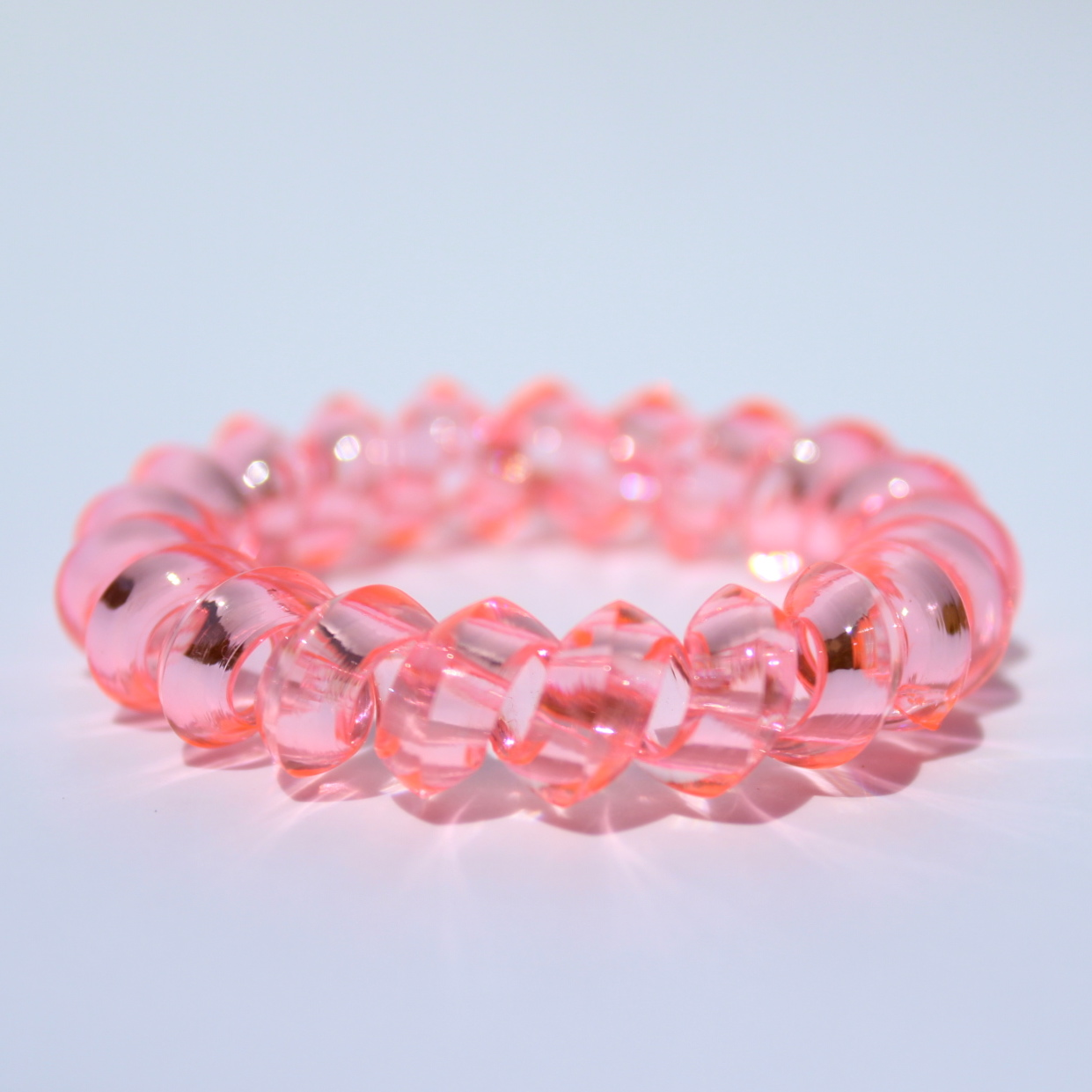Bledoružová gumička do vlasov Hairfix - Crystal Špicaté Light Pink 2