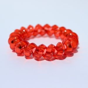 Červená gumička do vlasov Hairfix - Crystal Špicaté Red