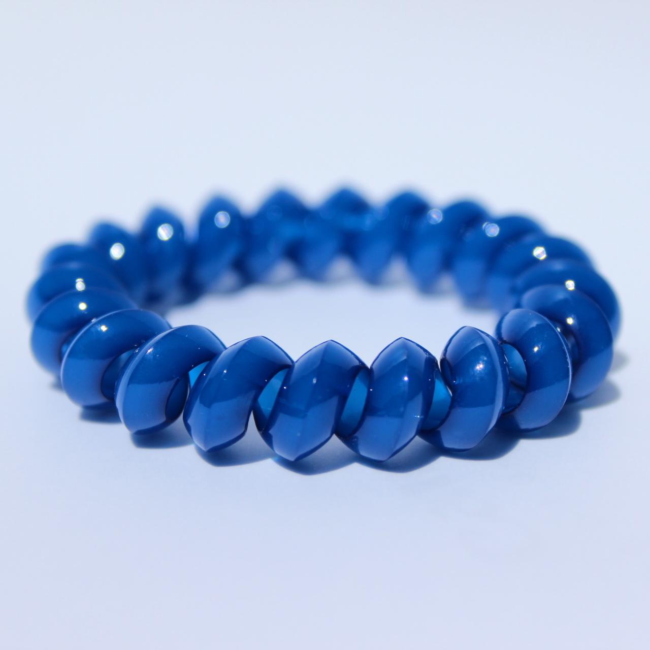 Tmavomodrá gumička do vlasov Hairfix - Solid Dark Blue