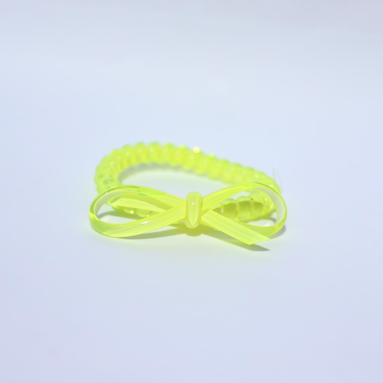 Neónovo žltá gumička do vlasov s mašličkou Hairfix - Bow Neon Yellow