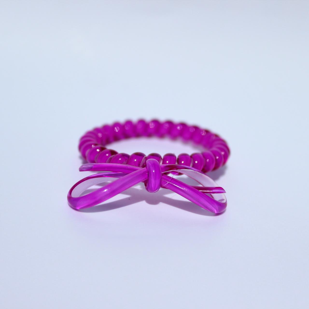 Tmavofialová gumička do vlasov s mašličkou Hairfix - Bow Dark Purple