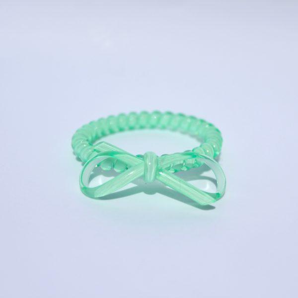 Mentolová gumička do vlasov s mašličkou Hairfix - Bow Mint Green