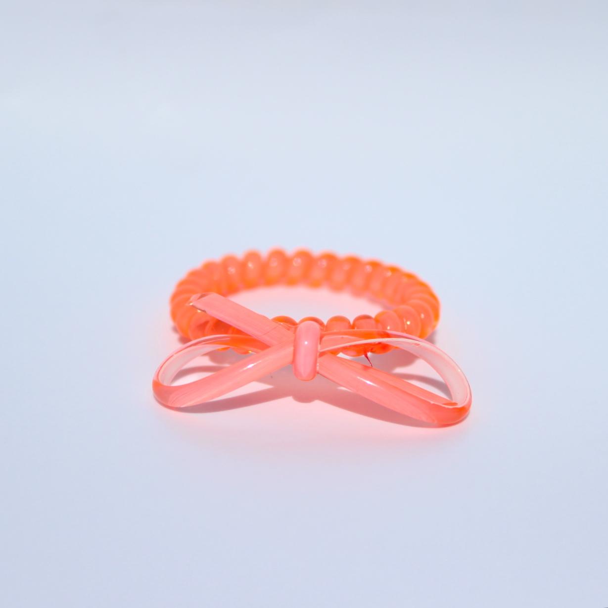 Neónovo koralová gumička do vlasov s mašličkou Hairfix - Bow Neon Coral