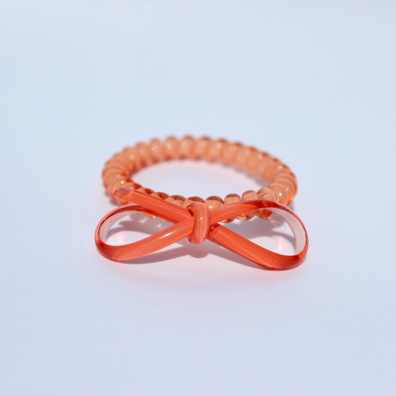 Koralová gumička do vlasov s mašličkou Hairfix - Bow Coral