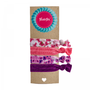Set 4 fialovo kvetinkových gumičiek do vlasov Hairfix - Softie Floral