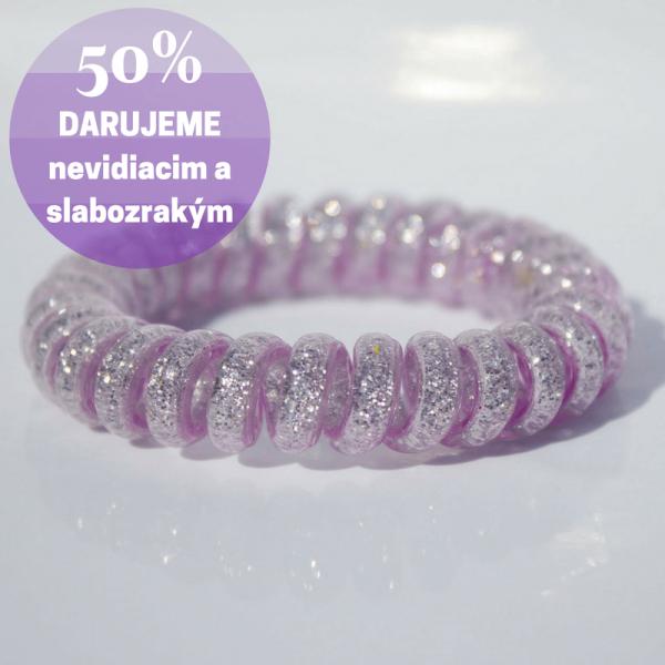 Fialová trblietavá gumička do vlasov Hairfix - Glitter Purple