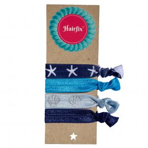 Set 4 modrých gumičiek do vlasov s morským motívom Hairfix - Softie Sea Breeze