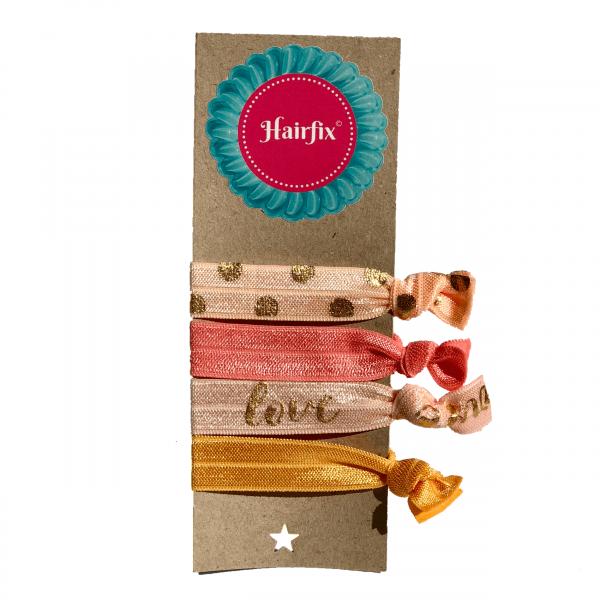 Set 4 marhuľkových gumičiek do vlasov so zlatým efektom Hairfix - Softie Love