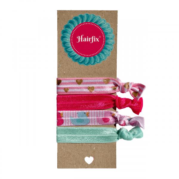 Set 4 ružovo-mentolových gumičiek do vlasov s kačičkami a srdiečkami Hairfix - Softie Duckie Love