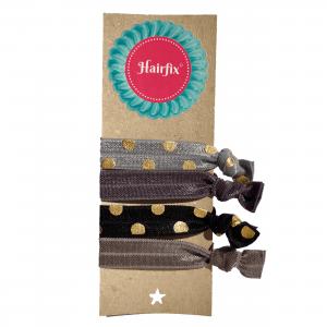 Set 4 šedo-čiernych gumičiek do vlasov zlatými bodkami Hairfix - Softie Gold Dots