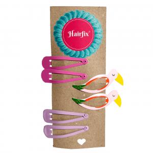 Set 6 sponiek do vlasov Hairfix - 2 sýtoružové, 2 fialkové a 2 v tvare plameniaka