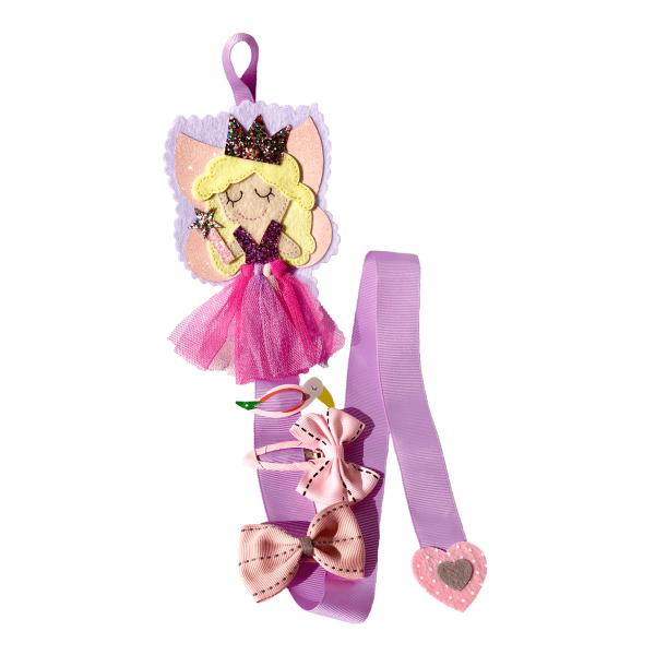 Držiak na sponky v tvare princeznej, princezná má blond vlasy, ružové šaty a stuha na sponky je fialová