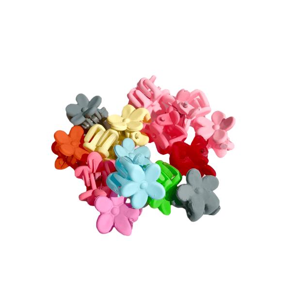 Set 15 malých farebných štipčekov do vlasov v tvare hawajských kvietkov