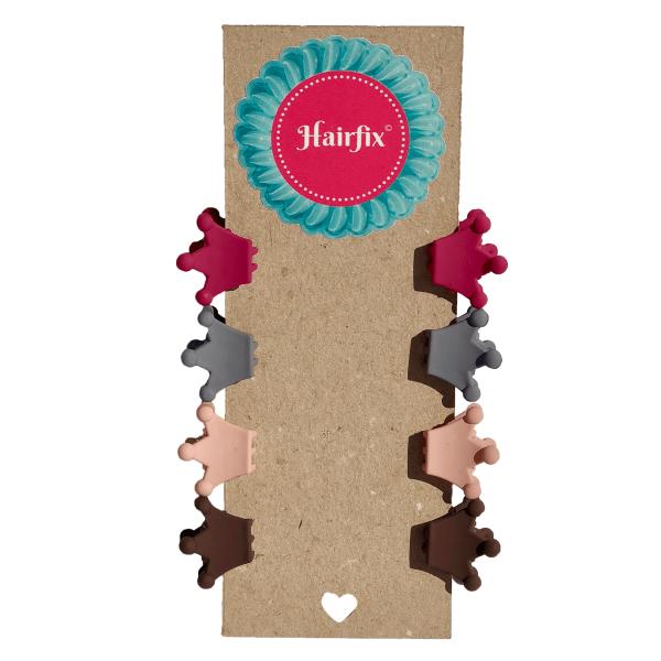 Set 8 štipčekov do vlasov v tvare koruniek vo farbách bordovej, šedej, telovej a hnedej