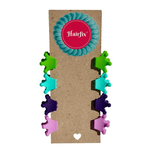 Set 8 štipčekov do vlasov v tvare koruniek vo farbách jabĺčkovozelenej, tyrkysovej, tmavo a bledo fialovej