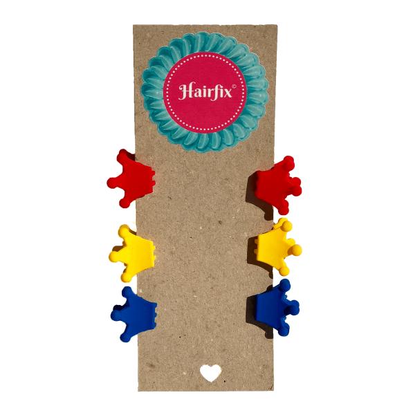 Set 6 štipčekov do vlasov v tvare koruniek vo farbách červenej, žltej a tmavomodrej