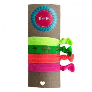 Set 4 neónových gumičiek do vlasov s palmovým motívom Hairfix - Softie Neon Summer
