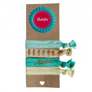 Set 4 tyrkysovo-krémových gumičiek do vlasov s hawajským motívom Hairfix - Softie Tropical Hawai