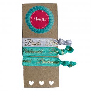 Set 4 tyrkysovo-bielych svadobných gumičiek do vlasov Hairfix - Softie Bride