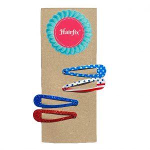 Set 4 sponiek do vlasov Hairfix - trblietavá červená a modrá a dve s americkým vzorom