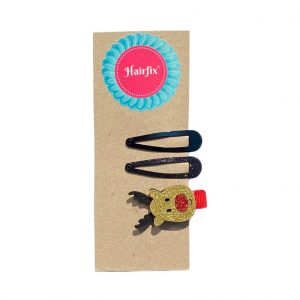 Set 2 čiernych sponiek a jednej sponky v tvare sobíka Hairfix